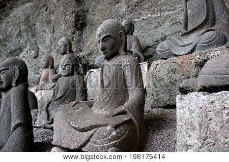 Bodhisattva statues on the side of Mt. Nokogiri in Chiba Prefecture