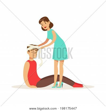 Woman bandaging the head of the injured man, young man with trauma of the head vector Illustration on a white background