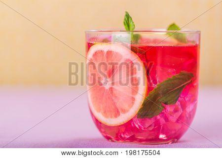 Glass cocktail grapefruit bar pub background festive
