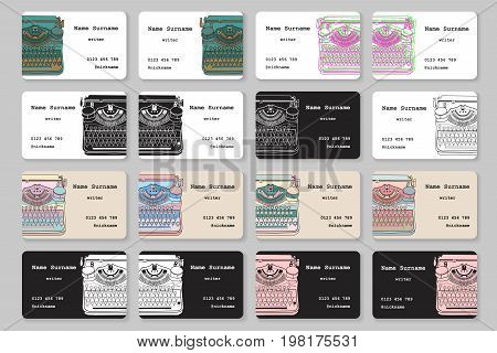 Set of business cards with hand drawn vintage typewriter for writers screenwriters editors and other creative people. Vector templates