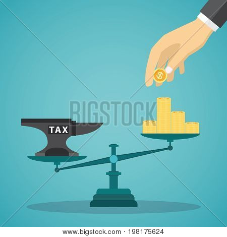 Businessman use coins balancing with TAX on scales. Vector illustration.