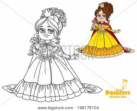 Beautiful Princess With A Flower In Her Hand And A Long Cloak Color And Outlined Picture For Colorin
