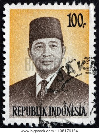 INDONESIA - CIRCA 1974: a stamp printed in Indonesia shows President Suharto 2nd President of Indonesia circa 1974