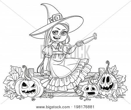 Cute Girl In Witch Costume Sitting On The Fence With A Knife And Cut The Lantern From A Pumpkin Outl