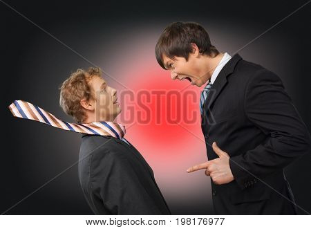 Business young men angry businessmen business success color