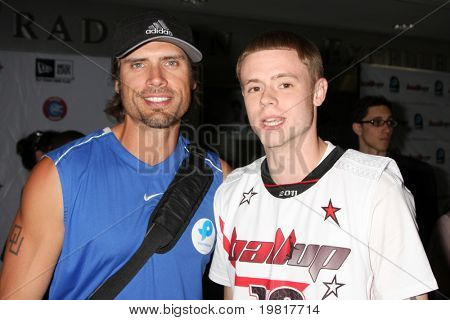 .LOS ANGELES - MAY 1:  Joshua Morrow, Grayson Boucher arriving at the 1st Annual Ball Up Celebrity Streetball Game at Cal State Northridge's Matadome Stadium on May 1, 2011 in Northridge, CA