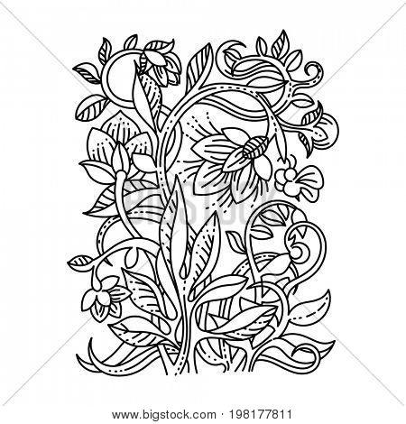 Vintage floral design elements. Good for coloring book.
