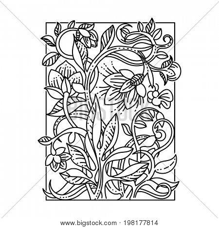 Vintage floral design elements. Good for menu, notebook cover or invitation decoration. Coloring illustration