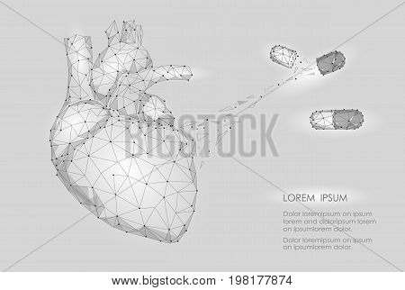 Human Heart Medicine Treatment Drug Internal Organ Triangle Low Poly. Connected dots white gray neutral color technology 3d model medicine healthy body part vector illustration art