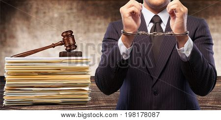 Man gavel background close-up paper business person