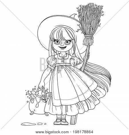 Sweet Girl In Witch Costume Holds A Broom For Flying And Pot Of Bubbling Potions Outlined Coloring P