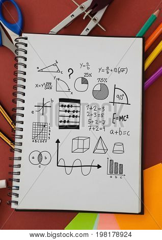Digital composite of Math charts drawings on notepad with stationery