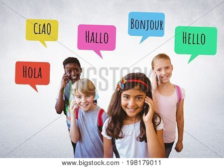 Digital composite of Hello in different languages chat bubbles learning with kids