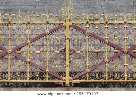 Prince Albert Memorial Kensington Gardens decorative fence London United Kingdom. It was commissioned by Queen Victoria in memory of her husband opened in July 1872