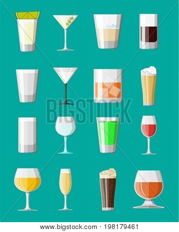 Alcohol drinks collection in glasses. Vodka champagne wine whiskey beer brandy tequila cognac liquor vermouth gin rum absinthe sambuca cider bourbon. Vector illustration in flat style.