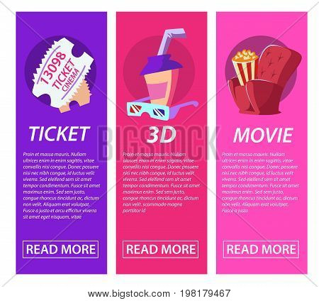 Cinematography three banner with movie time and festival design compositions in retro style. Vector illustration Vintage cinema promotional printing collection.