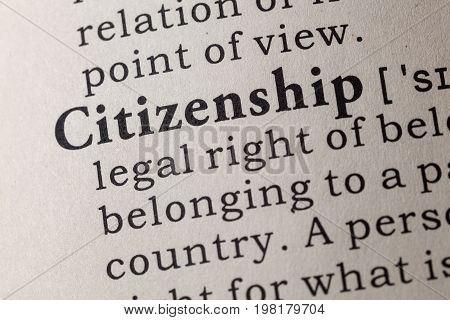 Fake Dictionary Dictionary definition of the word citizenship. including key descriptive words.