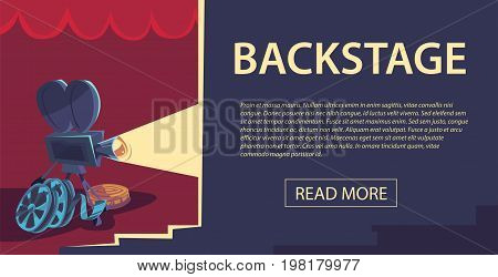 Cinematography flat horizontal banner with movie time and cinema festival design compositions in retro style. Vector illustration