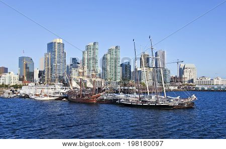 SAN DIEGO, CALIFORNIA, JUNE 13: The Maritime Museum of San Diego on June 13, 2017, in San Diego Bay, California. The Maritime Museum of San Diego is a very popular attraction for locals and tourists alike.