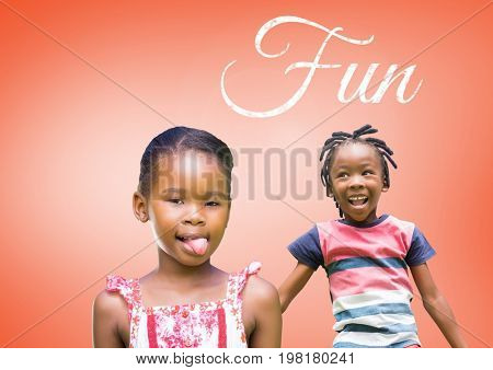Digital composite of Fun text with kids fooling around playing with blank orange background