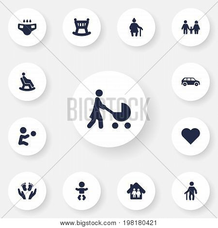 Collection Of Playing, Relatives, Nappy And Other Elements.  Set Of 13 Family Icons Set.