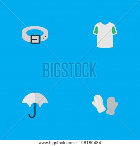 Elements Parasol, Jersey, Strap And Other Synonyms Rain, Belt And Shirt.  Vector Illustration Set Of Simple Instrument Icons.