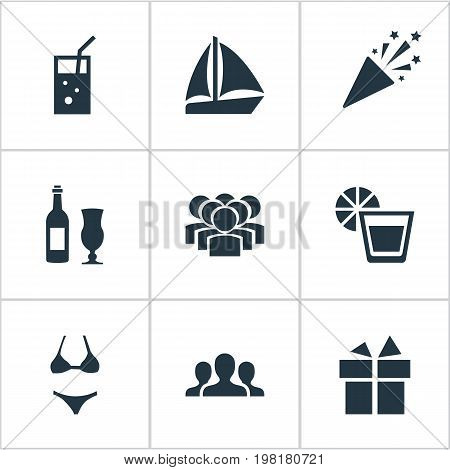 Elements Wine, Surprise, Team And Other Synonyms Wineglass, Party And Yachting.  Vector Illustration Set Of Simple Party Icons.