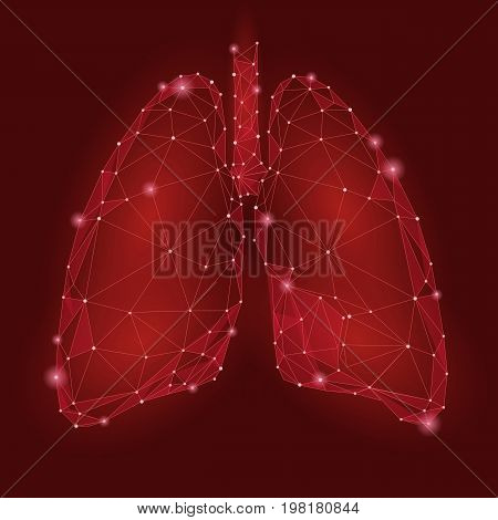 Human Internal Organ Lungs. Low Poly technology design. Red color polygonal triangle connected dots. Health medicine icon background vector illustration art