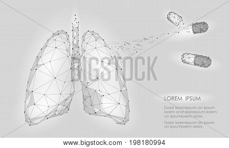Human Internal Organ Lungs Medicine Treatment Drug. Low Poly technology design. White Gray color polygonal triangle connected dots. Health medicine icon background vector illustration art