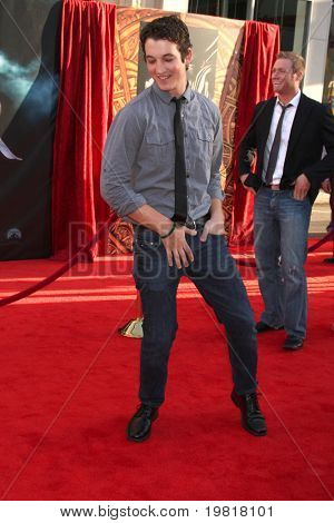 """LOS ANGELES - MAY 2:  Miles Teller arriving at the """"Thor"""" World Premiere at El Capitan theater on May 2, 2011 in Los Angeles, CA"""