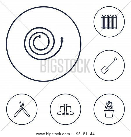 Collection Of Shears, Firehose, Palisade And Other Elements.  Set Of 6 Horticulture Outline Icons Set.