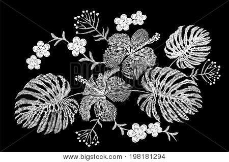 Tropical embroidery flower arrangement. Exotic plant blossom summer jungle. Fashion print textile patch. Hawaii hibiscus plumeria monstera vector illustration art