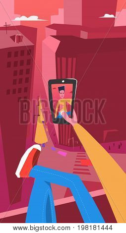 Taking Photo on Smart Phone. Vector Illustration. Selfie photos for social networks media. Concept modern life with selfie photo camera. Photo for the avatar on the top of a skyscraper