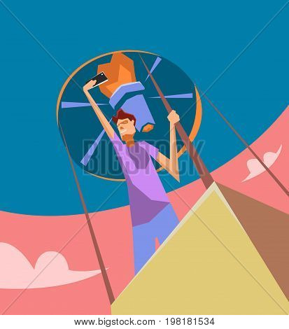Taking Photo on Smart Phone. Vector Illustration. Selfie photos for social networks media. Concept modern life with selfie photo camera. photo on a balloon