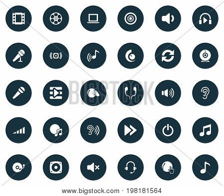 Elements Voice, Earmuff, Notebook And Other Synonyms Stereo, Rewind And Tape.  Vector Illustration Set Of Simple Play Icons.