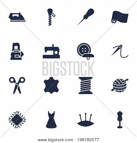 Collection Of Evening Gown, Bodkin, Flatiron And Other Elements.  Set Of 16 Stitch Icons Set.