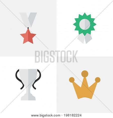 Elements Reward, Trophy, Champion And Other Synonyms Trophy, Medal And Reward.  Vector Illustration Set Of Simple Reward Icons.