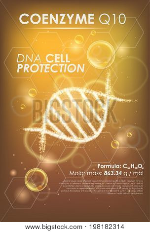 Coenzyme Q10. Supreme collagen oil drop essence with DNA helix. Premium shining serum droplet