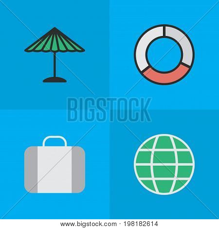 Elements Bag, Sea Rescue, World And Other Synonyms Lifebelt, Suitcase And Umbrella.  Vector Illustration Set Of Simple Relax Icons.
