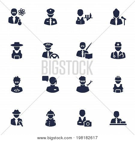 Collection Of Officer, Driver, Planner And Other Elements.  Set Of 16 Professions Icons Set.