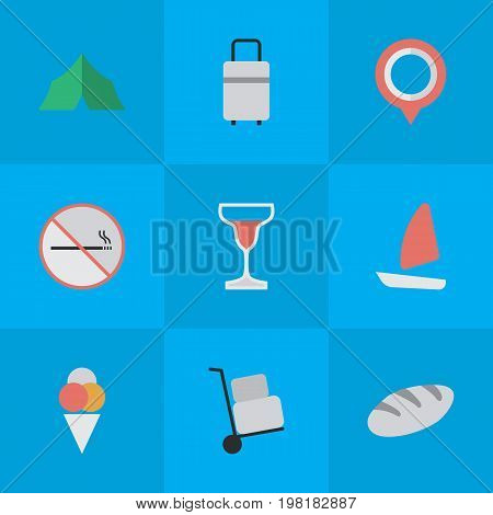 Elements Mark, Baggage, Bakery And Other Synonyms Pin, Forbidden And Bakery.  Vector Illustration Set Of Simple Relax Icons.