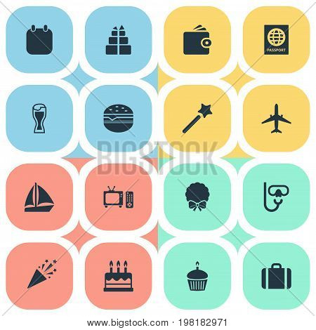 Elements Door Decoration, Tv Set, Pastry And Other Synonyms Beer, Calendar And Ship.  Vector Illustration Set Of Simple Festal Icons.