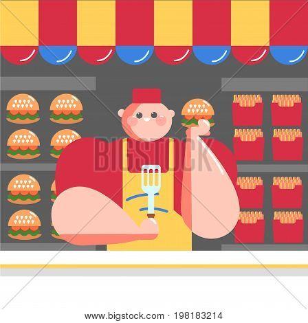 seller of fast food. street vendor fastfood