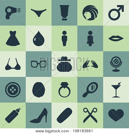 Elements Heirdressing, Mars Sign, Moisturizer And Other Synonyms Body, Glasses And Hair.  Vector Illustration Set Of Simple Elegance Icons.