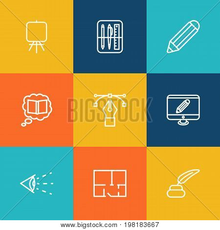Collection Of Property Plan, Drawing Tools, Vision And Other Elements.  Set Of 9 Constructive Outline Icons Set.