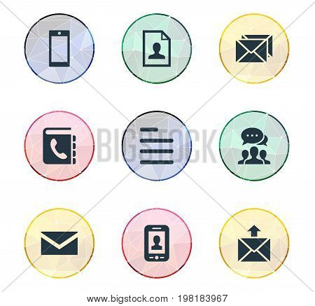 Elements Selfie, Cellular Appliance, Correspondence And Other Synonyms Selfie, Envelope And Information.  Vector Illustration Set Of Simple Contact Icons.