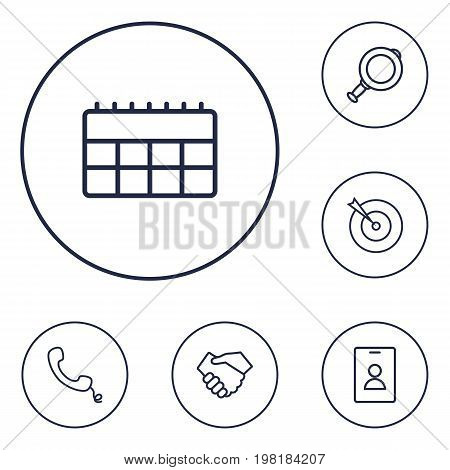 Collection Of Handset, Magnifier, Target Elements.  Set Of 6 Business Outline Icons Set.
