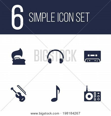 Collection Of Tape, Tone Symbol, Radio And Other Elements.  Set Of 6 Music Icons Set.
