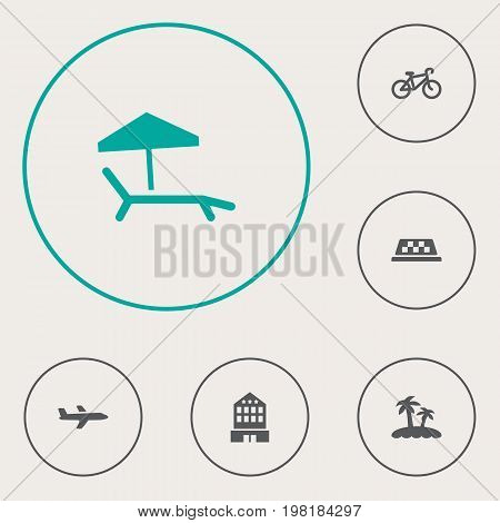 Collection Of Chaise Longue, Building, Bike And Other Elements.  Set Of 6 Journey Icons Set.