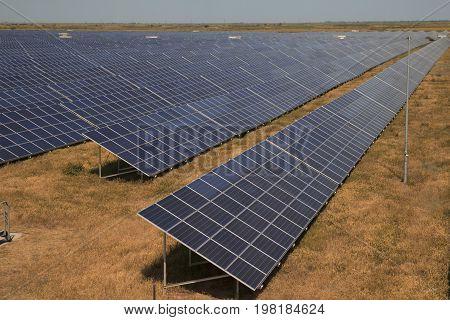Hugh array of solar pv modules in ukrainian steppe